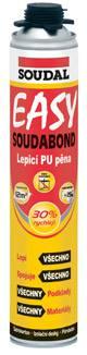 SOUDAL SOUDABOND EASY PISTOLOVÁ lepící Pu pěna 750 ml k plošnému lepení a upevňování sádrokartonových, dřevotřískových desek atd.